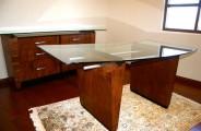 Sapell desk Sapelli pomele, aluminum and glass